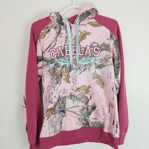 Cabela's Pink Camo Tree Hoodie Sweater Pullover Teal embroidered small hunting